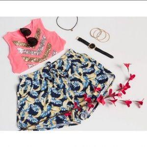 Blue Tropical Banana Print Shorts